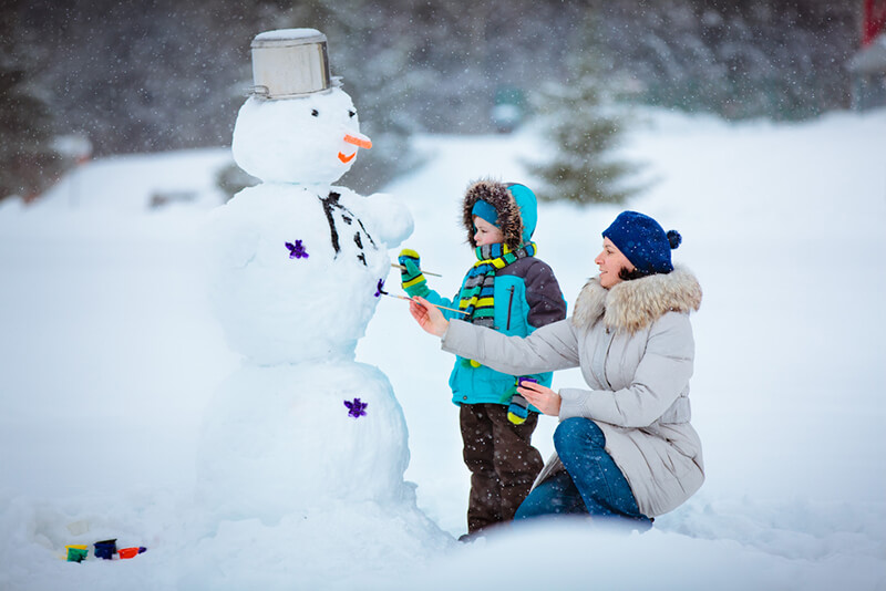 Как своими руками слепить снеговика из снега