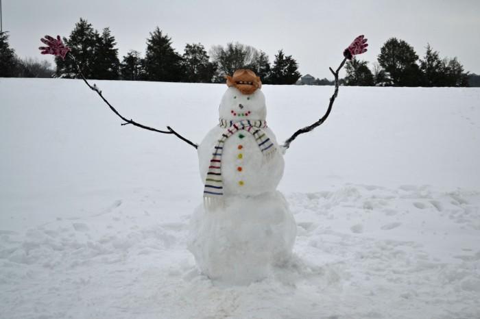 Лепка снеговика из снега своими руками