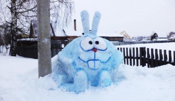 Зайчик из снега своими руками