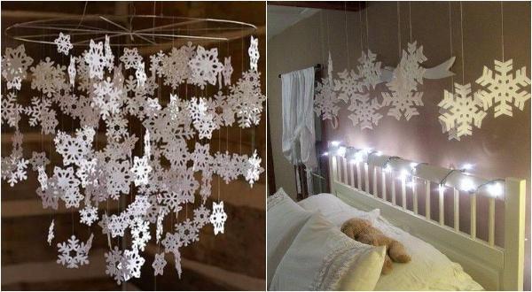 Дождик снежинок на потолке