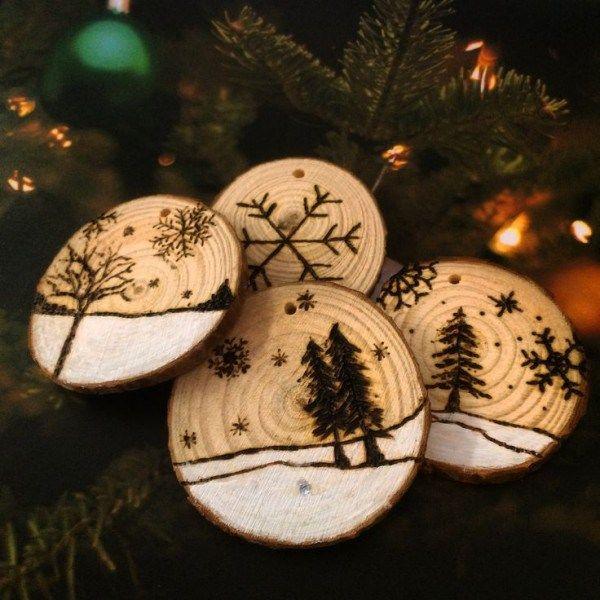 Игрушки для новогодней елки из природных материалов