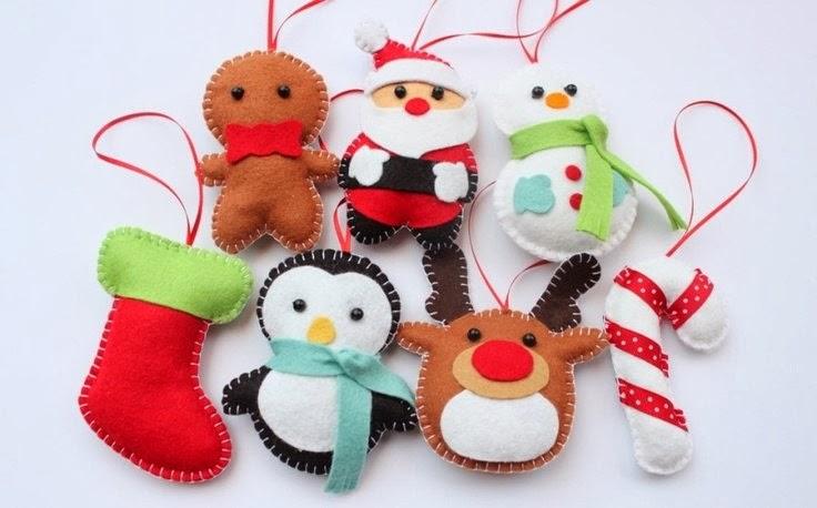 Игрушки из фетра для украшения дома к Новому году