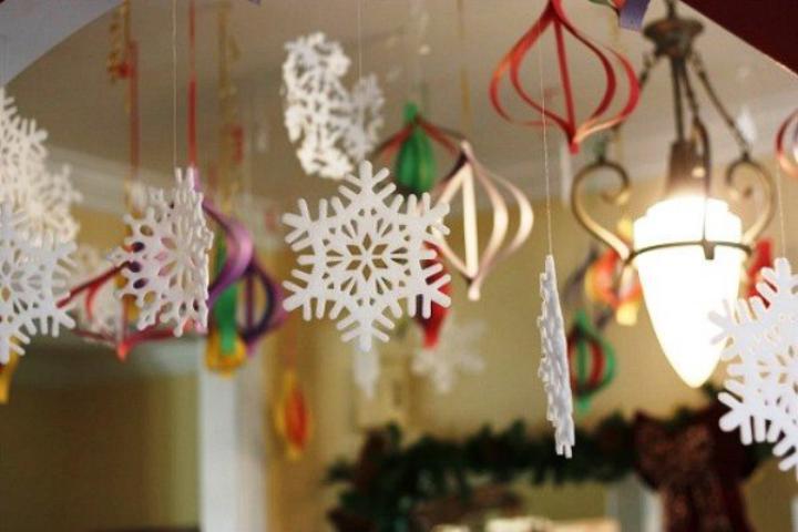 Какоформить и украсить потолок на Новый год