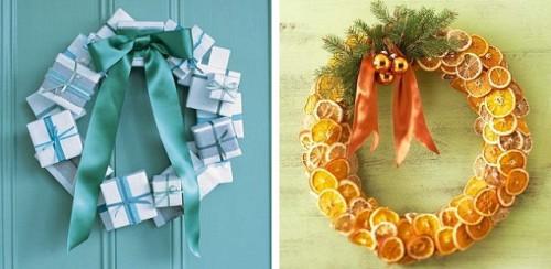 Новогодние венки для украшения двери