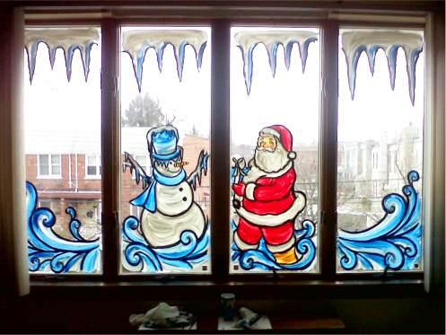 Рисунки для украшения окон к Новому году