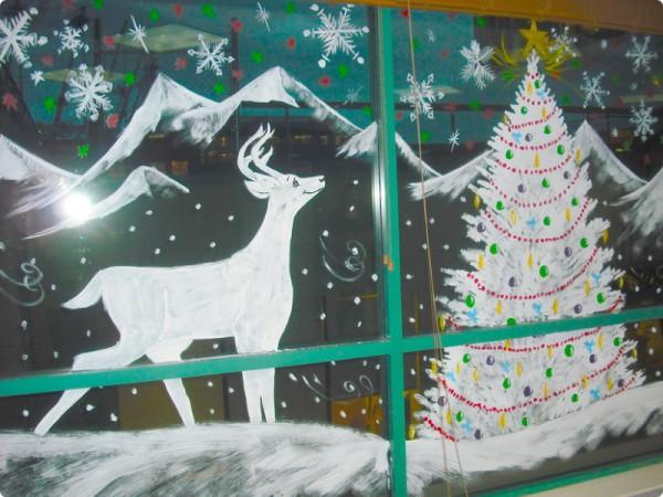 Роспись окна на Новый год