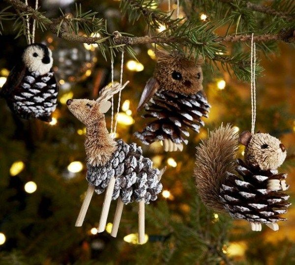 Украшение новогодней елки из природных материалов
