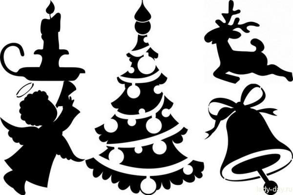 Украшение окон к Новому году шаблоны и трафареты для росписи стекла