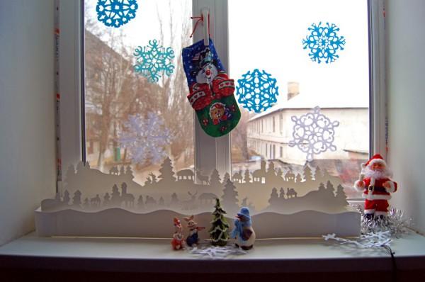 Украшение окон в детском саду на Новый год