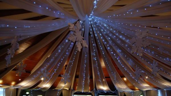 Украшение потолка тканью к Новому году