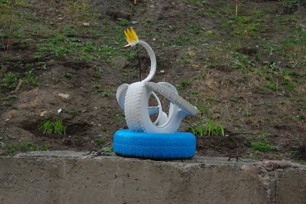 Как сделать лебедя из покрышки схема фото 498